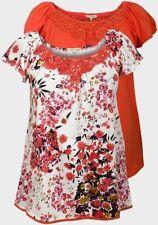 Waist Length Short Sleeve Floral Basic T-Shirts for Women