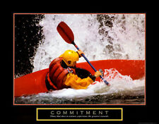 COMMITMENT Motivational Inspirational Whitewater KAYAKING POSTER Print
