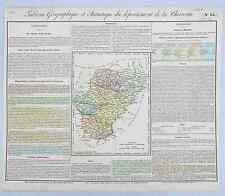Dépt 16 - Rare Carte Géographique & Statistique de la Charente Aquarellée 1826