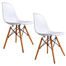 White Set of 2 Mid Century Eames Style DSW Dining Side Chairs w/Wood Legs