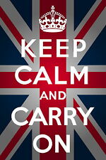 keep calm carry on  banksy art print A1 SIZE poster wall decor union jack