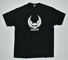 FALLEN Skateboards Skull Wings Black T Shirt 100% Cotton Men's LARGE