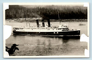 EARLY VIEW OF STEAMSHIP SS PRINCE RUPERT - STEAMER PHOTO RPPC - AS-IS CONDITION