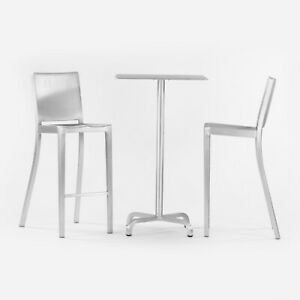 2010s Norman Foster for Emeco 20-06 Bar Height Cafe / Dining Table Brushed 24 in