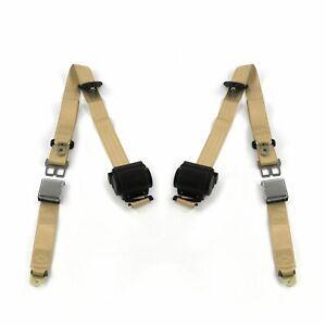 AMC 1958 - 1988  Airplane 3pt Tan Retractable Bucket Seat Belt Kit - 2 Belts rat