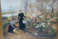 Victorian Trading Co In the Garden 2 Women Picking Flowers Unframed Print
