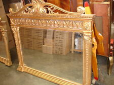 AGED & DISTRESSED GOLD ORNATE WOOD OVERMANTLE MIRROR @ AUNTIES PARLOUR WOW!