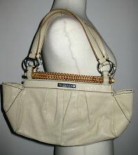 My Auth SISLEY CREAM LEATHER Look RATTAN TRIM Pleated POUCH SAC HAND BAG Retro