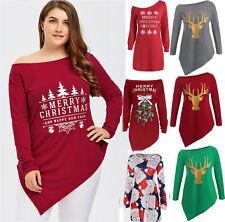 PLUS SIZE Women Santa Claus Christmas Print Cute Shirt Mini Dress Long sleeve