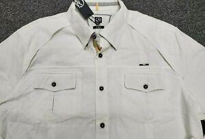NWT Cavi Men 4XL White Linen Blend Long Sleeve Button Down Casual Shirt NEW $72