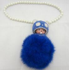 Blue Monchichi Bling Keychain Car Hanging Charm Pom Pom Purse Accessory Crystal