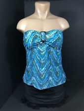 Womens Swimwear Tankini Size 14 Macys Island Escape 2 Piece Blue Lime Black NEW