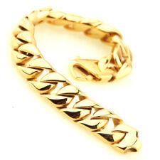 Strong Stainless Steel Cuban Bracelet Shinny New Men's Hip Hop Gold Color 316L