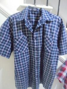 MENS PACIFICA NWOT SIZE XXL CHEST 110 CM Navy Blue Teal Check SHIRT