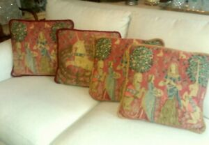 """VINTAGE TAPESTRY MEDIEVAL TOSS THROW PILLOWS 18""""X18"""""""