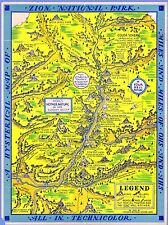 Zion National Park Hysterical 1939 Pictorial Map comic POSTER 11353
