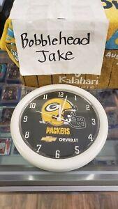 """NIB 10"""" NFL GREEN BAY PACKERS WALL CLOCK CHEVY CHEVROLET"""