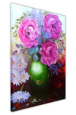 Pink Flowers in Green Vase Canvas Wall Art Prints Oil Painting Re-Print Pictures