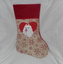 Maltese Dog Hand Painted Christmas Stocking Holiday Decoration