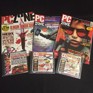 PC Zone Magazine Bundle Issues 57 59 68 1997 1998 Demo Game Discs Tomb Raider 2
