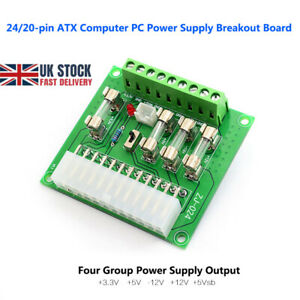 24/20pin ATX Computer PC Power Supply Breakout Board Adapter Extension Module