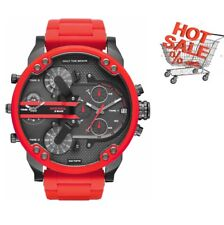 NEW DIESEL DZ7370 57MM MR.DADDY RED 4 TIME ZONE CHRONOGRAPH MEN'S WATCH UK GIFT
