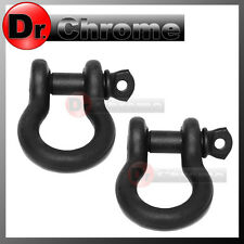 "1 Pair 3/4"" BLACK 4.75 Ton D-Ring Bow Shackle Heavy Duty for 4x4 ATV RV Bumper"
