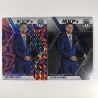 2019-20 Mosaic Stephen Curry MVP Blue Reactive Prizm &  Base MVP Card WARRIORS