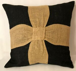 Burlap Pillow Cover Black with Primitive Natural Ribbons 16x16 Inches New