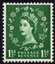 1960 1 1/2 D Verde Spec S33 coronas en papel crema Wilding fósforo reaccionar Azul estampillada sin montar o nunca montada