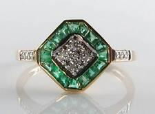 LOVELY 9CT 9K YELLOW GOLD EMERALD DIAMOND ART DECO INS RING FREE RESIZE