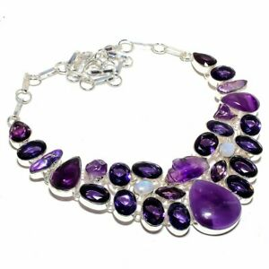 "Amethyst Sage, Rainbow Moonstone Gemstone Handmade Ethnic Jewelry Necklace 18"""