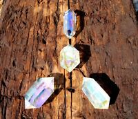 AURA QUARTZ CRYSTAL POINT NATURAL CLEAR DOUBLE TERMINATED HEALING GEMSTONE 4pcs