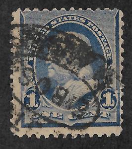 US #219v (1890) 1c Benjamin Franklin -  Blue - Used - EFO: Flame on 1s - VG