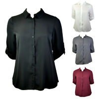 PLUS SIZE ROLLED BUTTON-UP 3/4 SLEEVE DIP HEM SHIRT Ivory, Black, Grey, Wine