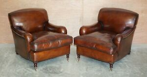PAIR OF GEORGE SMITH SIGNATURE SCROLL ARM HAND DYED BROWN LEATHER ARMCHAIRS