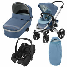 Maxi Cosi Nova Pushchair, Oria Carrycot, Tinca Car Seat & Footmuff Blue RRP:£856