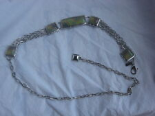 "Chico's Metal Chain Link  Belt, 5 Decorative Green Panels & Chain Drop  38 """