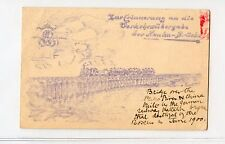 China Vintage Feld Post Tientsin Train on PeihoBridge Built by Germany Post Card