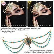 Head Hair Piece Indian Costume Jewellery Matha Patti Scarf Hijab Gold silver