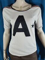 MAISON SCOTCH Taille 1 - 36 Superbe haut top tee shirt manches courtes blanc noi