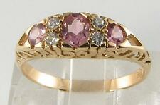 LOVELY 9CT GOLD PINK TOURMALINE  & DIAMOND ART DECO INS RING FREE RESIZE