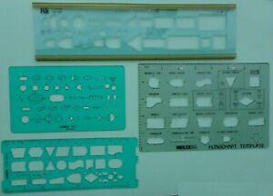 Mixed Drawing Stencils, Digital & Analogue Electronics plus 2 x Flow Chart