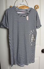 ♡ NWT Victoria's Secret Angel Sleep Tee Dress Black White Striped Foil PJ XS/TP