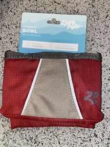Zippy Paws Adventure Travel COLLASIBLE Bowl, Waterproof, Desert Red, NWT