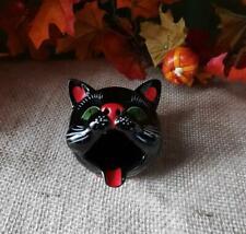 Vtg Shafford Redware Black Cat Head Ashtray Or Incense Burner Green Eyes Japan