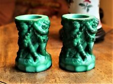 Pair Czech. Schlevogt (Ingrid Line) Malachite Glass Vases /Candle Holders c.1930