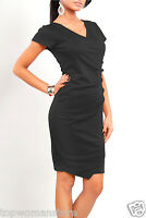 Top Women's Wiggle Dress V Neck Wrap Dress Short Sleeve Pencil Tunic Sizes 8-16