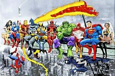 Super Heroes Tin Sign Picture Marvel Lunch atop a Skyscraper Manhattan Sci Fi US