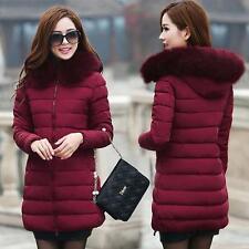 Winter Women Down Cotton Parka Long Fur Collar Hooded Coat Jacket outwear 6-14